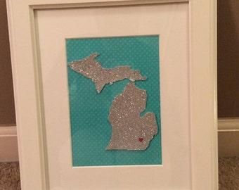 8x10 State of Michigan Framed Artwork