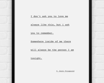 The Person I Am Tonight F.Scott Fitzgerald - Printable Poster - Digital Art, Download and Print JPG