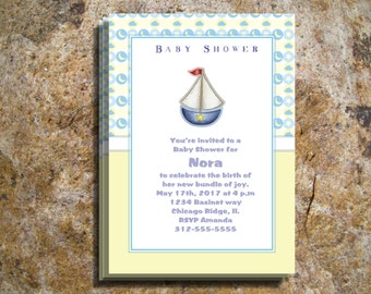 Babyshower Invitations, Baby boy blue or girl pink boat nautical sailor  baby shower invitations