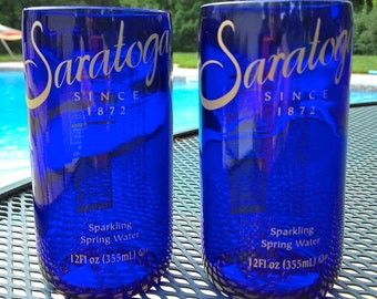 Saratoga Springs Juice Glasses-Pair, reclaimed bottle, cool kitchen gifts, ecofriendly,