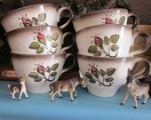 Metlox Poppytrail Provincial Rose Transferware Cups Set Of Six