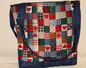 Quilted Country Cotton Tote Bag