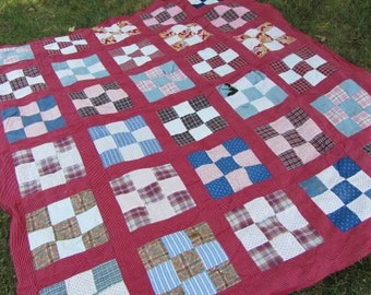 Antique Quilt Top // 30 Blocks // Early 1900s Fabrics // Shirtings // Indigo Fabric // Plaids // Madras // Nine Patch Pattern