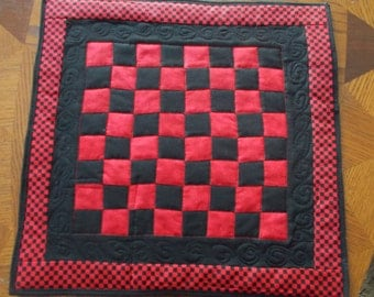 quilted checker board game for your coffee table