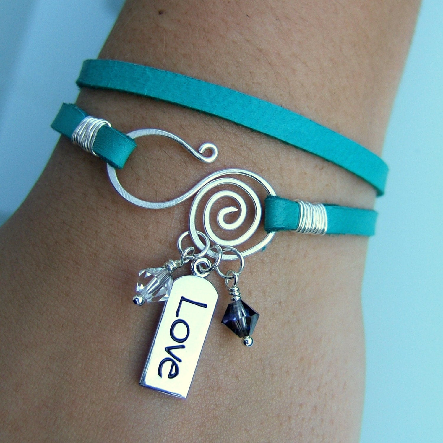 Leather Wrap Charm Bracelet: Turquoise Deerskin Leather Wrap Bracelet Silver Love Charm