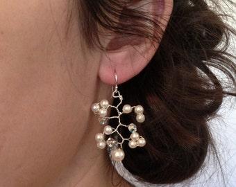 Swarovski Pearl Crystal Vine Earrings, Ivory Pearl Crystal Earrings, Bridal Earrings, Bridesmaid Jewellery, Wedding Accessories,