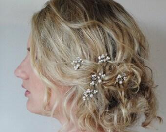 Swarovski Pearl Crystal Bridal Hair Pins, Wedding Hair Accessories, Customised Bridal Hair Pins, Bridesmaid Hair Accessories