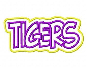 Tigers Text Double Applique Designs N001