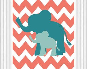 Elephant Nursery Art - Safari, Kids room Coral, Aqua, Wall Art - Custom Print Baby's room- Home Decor 8x10 Print - Kids Room
