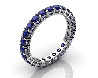 Shared Prong Round Blue Sapphire Eternity Ring With Open Gallery (1.70 ct. tw.)