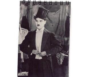 CHARLIE CHAPLIN | Notebook | Black and White | Notepad | Retro | Silent Movie | Gift Idea |  Handmade | Blank Book