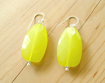 Neon Yellow Earrings, Neon lime drop earrings
