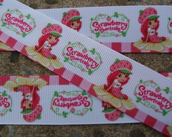 """3y Strawberry Short Cake Printed Ribbon 7/8"""" Grosgrain Ribbon Free Shipping all additional items"""