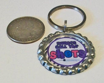 Cute Zebra Print Nurses Call The Shots Flattened Bottlecap Keychain Great Gift