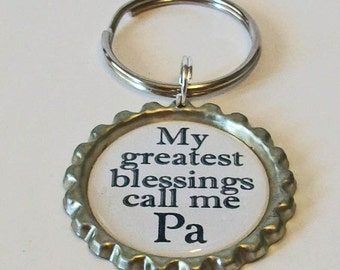 My Greatest Blessings Call Me Pa Grandfather Metal Flattened Bottlecap Keychain Great Gift
