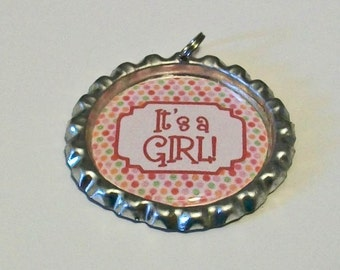 Tiny Pink Dots It's A Girl Flattened Bottlecap Pendant Necklace Perfect for Baby Showers or Gender Reveal Parties