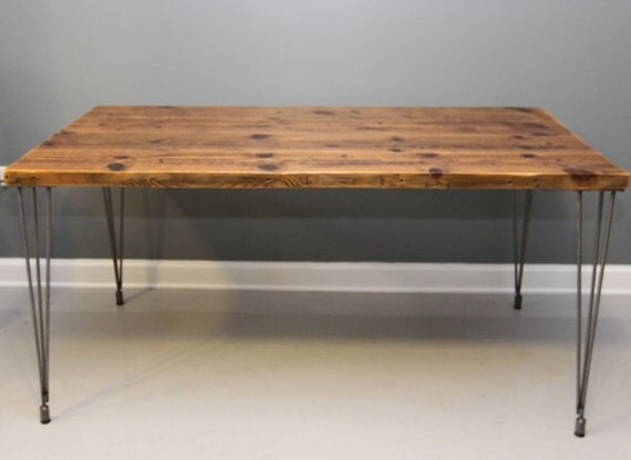 reclaimed wood table hairpin legs 3