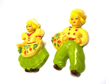 Retro Kitschy Dutch Boy and Girl Plaster or Chalkware Wall Plaques