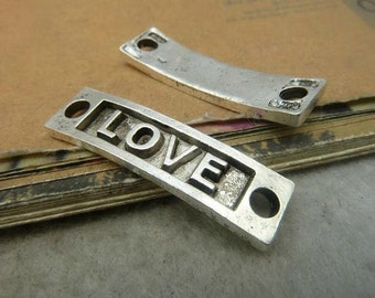 10pcs 10x36mm Ancient Silver  Rectangle Love Charm Connector - Love Tag Charm Connector