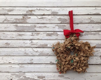 Star shaped upcycled coffee sack burlap scrap wreath Eco friendly upcycled holiday decor