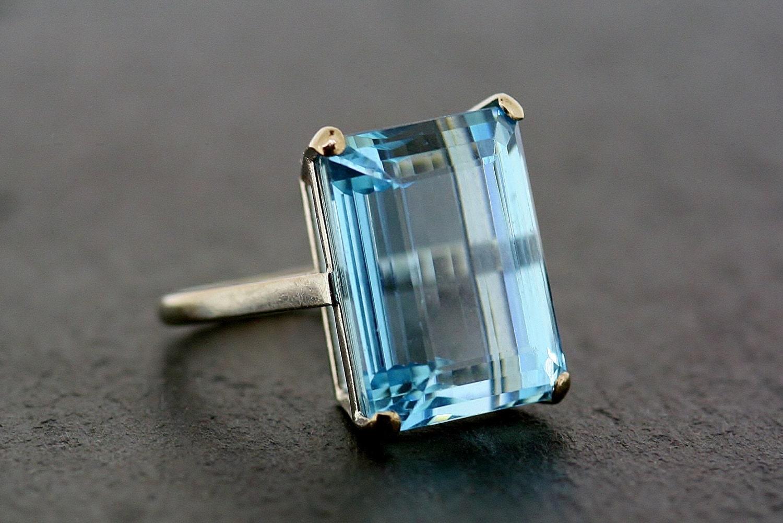 Art Deco Aquamarine Ring Antique Aquamarine Platinum