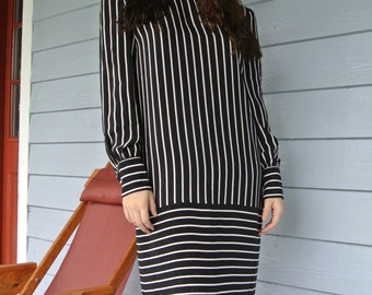 Bill Blass Designer Dress Black & White Stripes/ Striped, 100% Silk Vintage 1980s Career