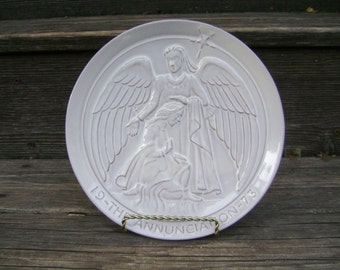 """Vintage 1973 Frankoma Decorative Christmas Plate """"The Annunciation"""""""