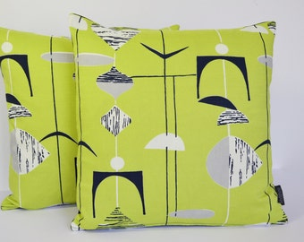 Sanderson Mobiles mid century Atomic retro vintage cushion cover - Green