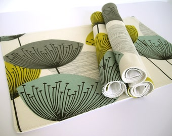 Sanderson Dandelion Clocks fabric Placemats - Chaffinch