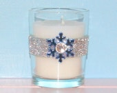 Votive Candle Holder / Winter Wedding Decoration / Bling Wedding Decor / Snowflake Wedding Decor / Silver Glitter / Blue / Rhinestone / 6 - CarolesWeddingWhimsy