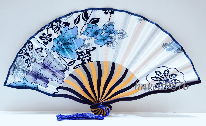 Silk fabric Japanese hand fan wedding folding fan white blue