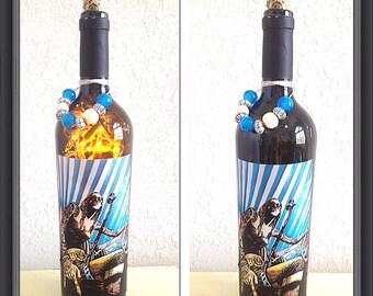 Rock wine bottle lamp