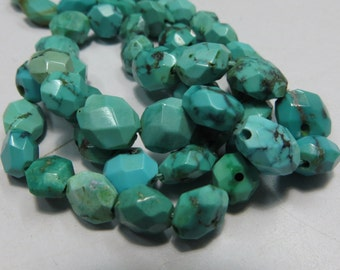 16 Inches Natural Color And Natural Stone Tibetan Turquoise Faceted Good Quality Size 6X7 mm To 7X10 mm   Approx