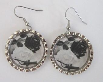 Black & White Roses Bottle Cap Earrings