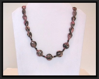 Natural Pink Rhodonite Black Onyx and Silver 20 inch Necklace One of a Kind
