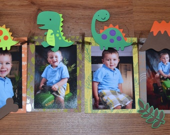 Dinosaur Photo Banner for Birthday, First Birthday, Parties and MORE - 12 frame w/ detachable favor clips + 4