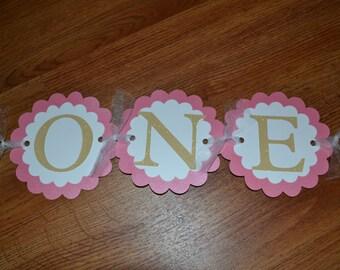 ONE Pink Glitter Highchair Banner - First Birthday Party