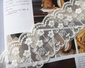 Lace Trim, Embroidered Mesh Trim, Floral Lace Trim, White lace, 2.28 inches wide 2 yards