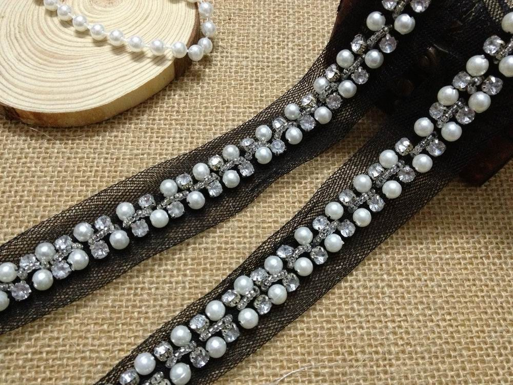Ivory Beaded Lace Trim Crystal Rhinestone Beaded Lace Chain