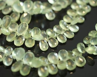 Prehnite Faceted Pear Briolettes, 8-9 mm, 6 beads GM2601FP/8/6 #36
