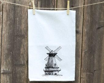 Windmill Dish Towel, Funny Kitchen Towel, Bar Rag, Nautical, Hostess Gift, Housewarming Gift, Tea - Flour Sack Towel, Wedding Shower Gift