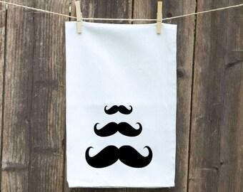 Mustache Tea Towels-Kitchen Towels-Hand Towels-Flour Sack Towels-Dish Towels-Customizable Tea Towels-3 Mustaches