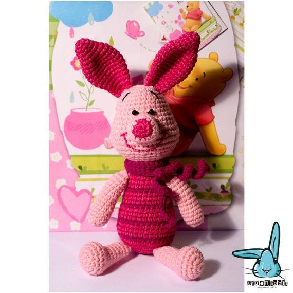 Amigurumi Disney Characters : Crochet amigurumi pink piglet toy disney character winnie