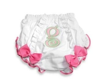 Mud Pie Baby Girl Pink Initial Cotton Bloomer, 0 - 6 Month ~ Initial G