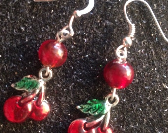 Cherry red and silver dangle earrings
