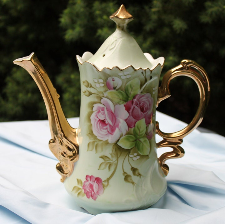 Lefton China Pitcher With Lid Light Green Porcelain Pitcher