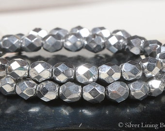 Silver Tinsel (25) - Firepolished Czech Glass Bead - 6mm - Faceted Round