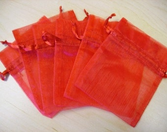 10  7''x9''  Red  Organza Jewelry Gift Pouch Bags Great For Wedding favors, sachets, beads, jewelry, and more