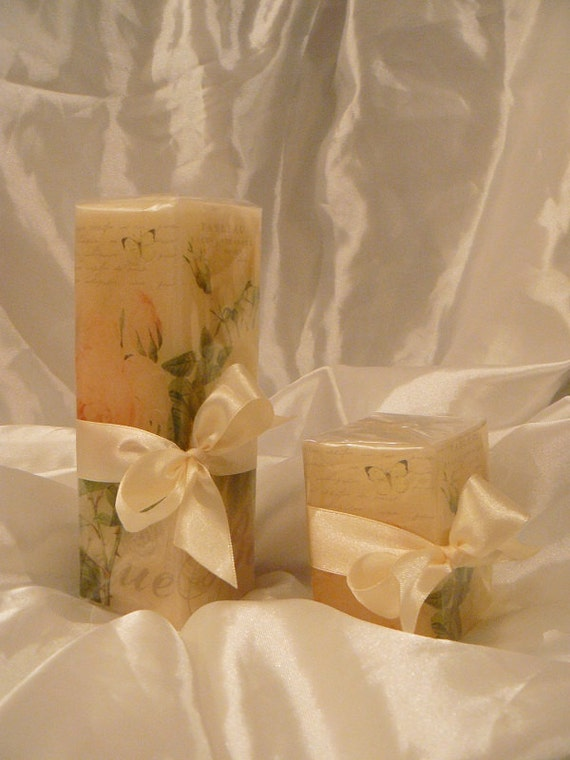 Hand decorated Vintage, Shabby Chic Style, Gardenia Scented Pillar Candles, Gift Wrapped, 10% DISCOUNT for set of 2