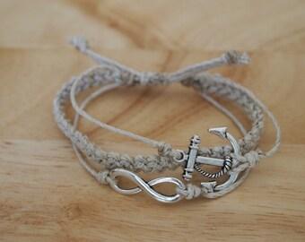 3-in-1 Anchor / Braid / Infinity Charm Adjustable Natural Hemp Bracelet